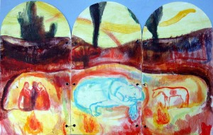 Triptych - West Shield - 2002 - Acrylic, Mixed Media on Plywood - 60 X 37 cm