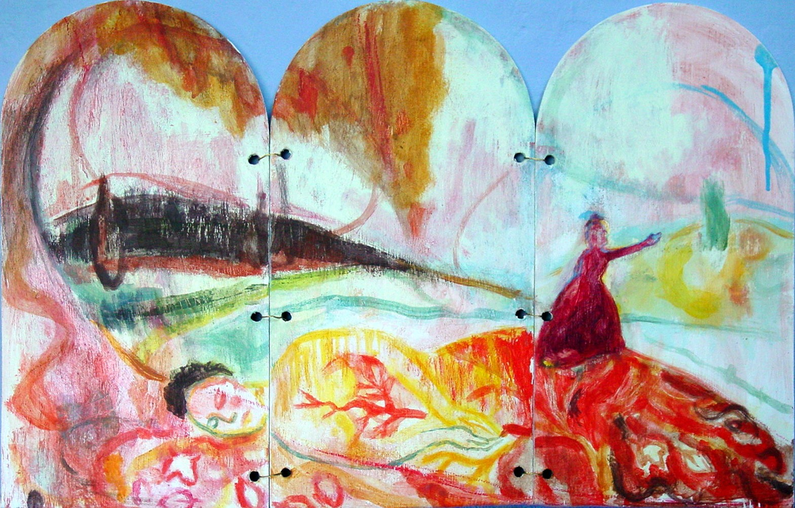 Triptych - South Shield - 2002 - Acrylic, Mixed Media on Plywood - 60 X 37 cm