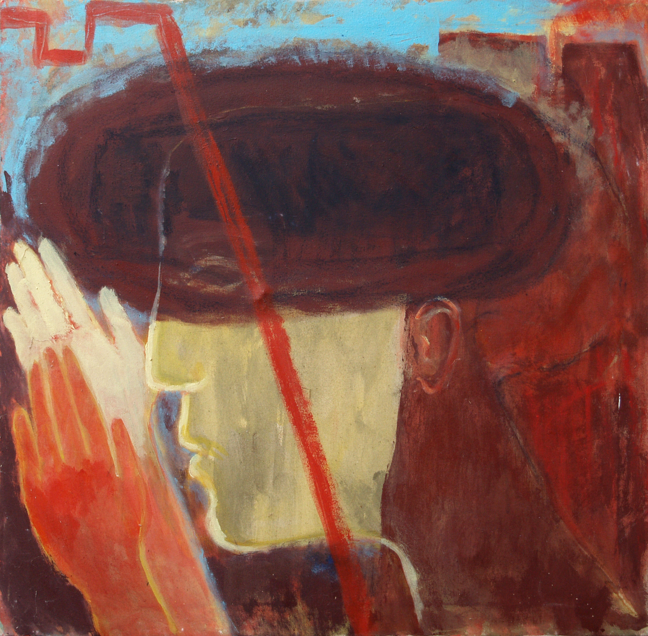 'Headache' - 1993 - Acrylic, Mixed Media - on Canvas - 71.5 X 71.5 cm.