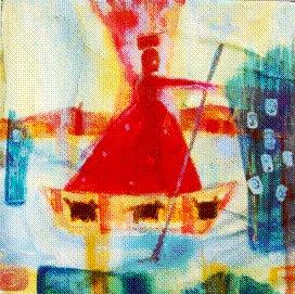 "Into the Reeds - 1996 - Acrylic, Mixed Media on Canvas - 18""X18"""