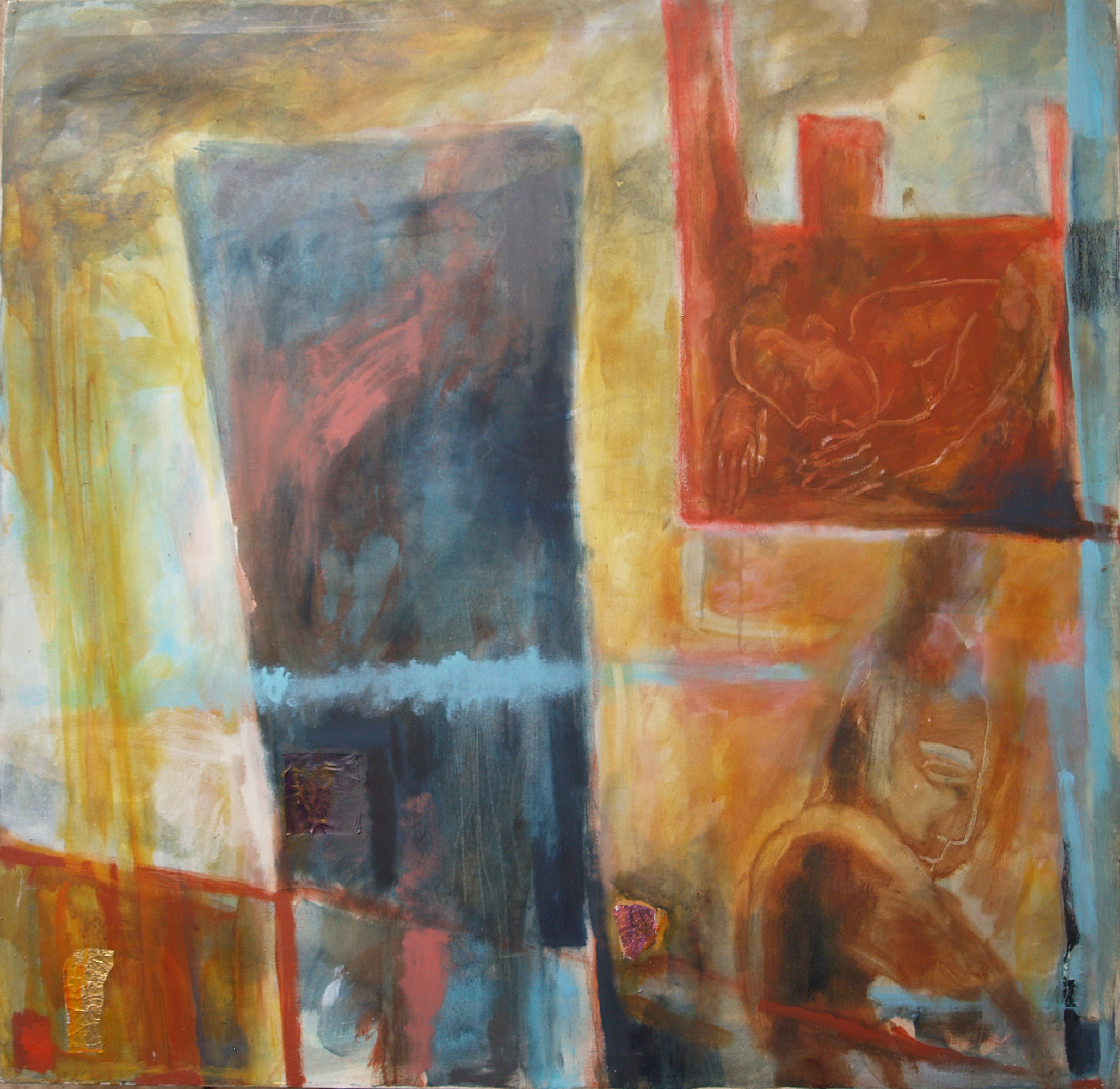 Pensive in a Dangerous Landscape - 1986 - Acrylic, Mixed Media on Canvas - 122 X122