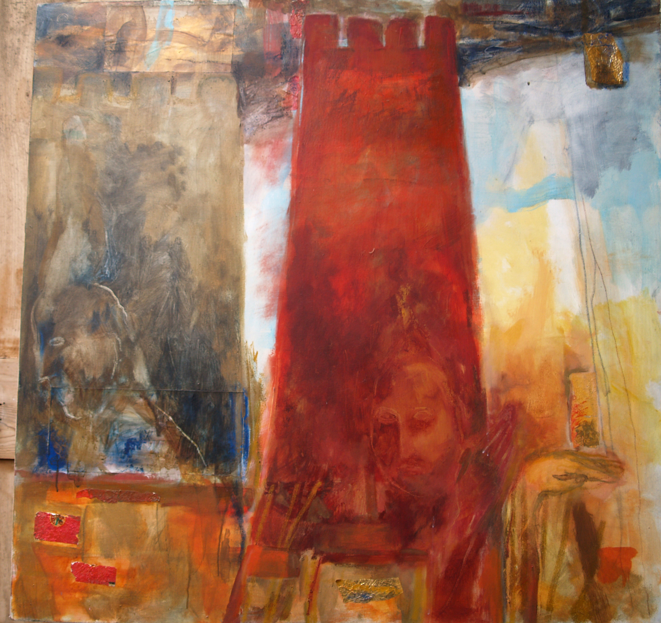 The Sturdy Castle & the Wafting Angel - 1986 - Acrylic, Mixed Media on Canvas - 133 X 133 cm