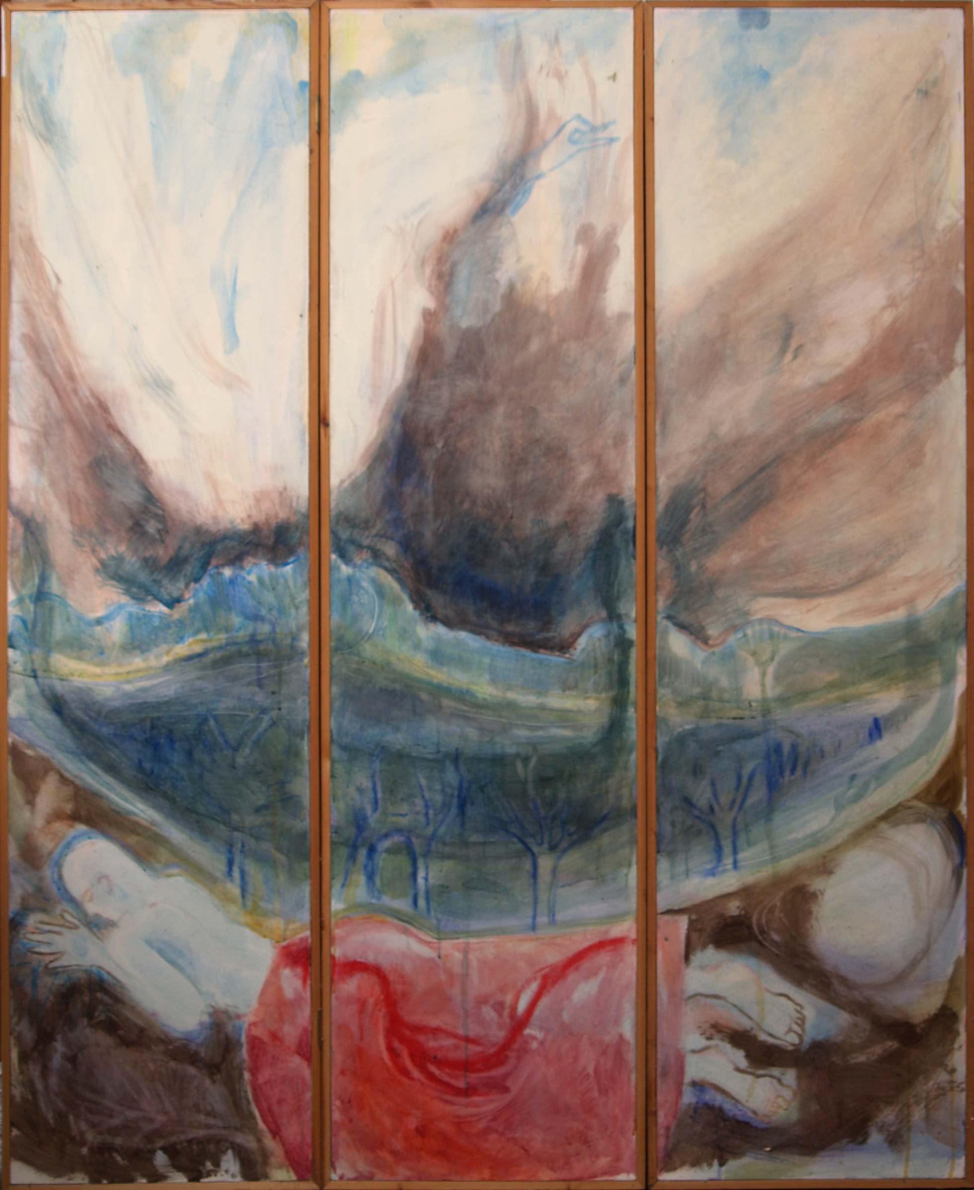 Triptych - Embrace - 2002 - Acrylic/mixed media on Screen - Wood & Canvas - 161 X 132cm