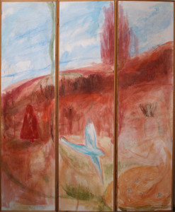 Triptych - Welcoming - 2002 - Acrylic/mixed media on Screen - Wood & Canvas - 161 X 132cm