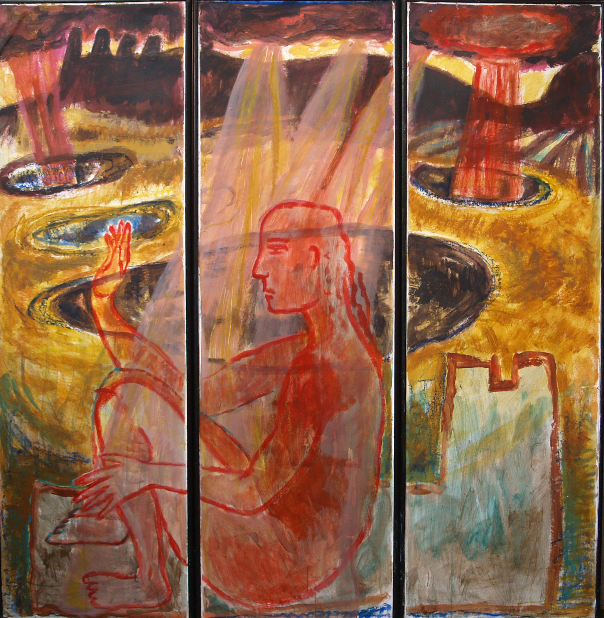 Triptych - WEATHER/Fiery Landscape - 1989 - Acrylic/mixed media on Screen - Wood & paper - 162 X 170 cm