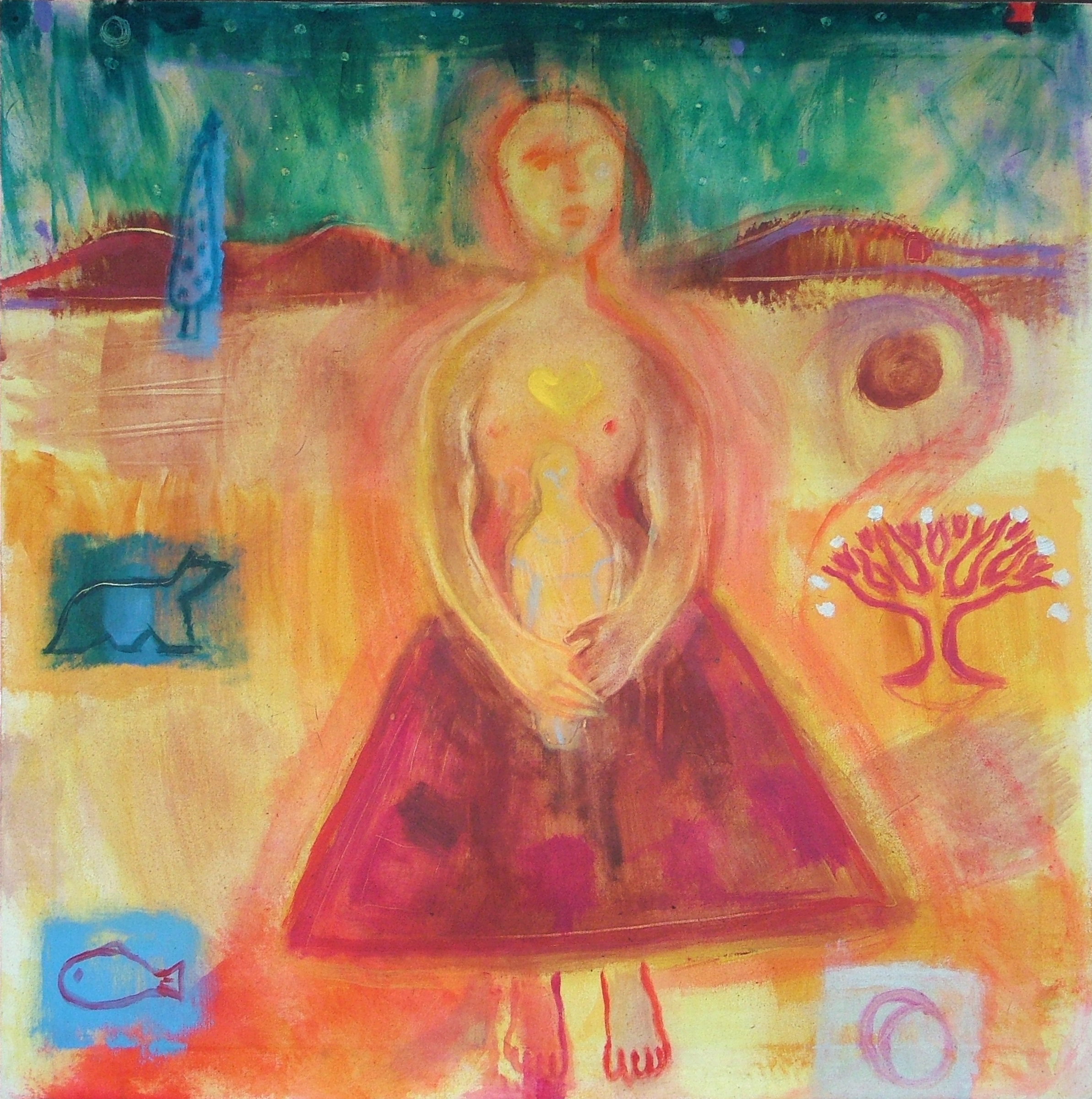 Heartsong - 1995 - Acrylic on Canvas - 92 X 92 cm,- Sold