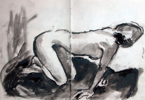 Life Drawing 1 - 1986 - Pastel, mixed media on Paper - 42 X 31 cm