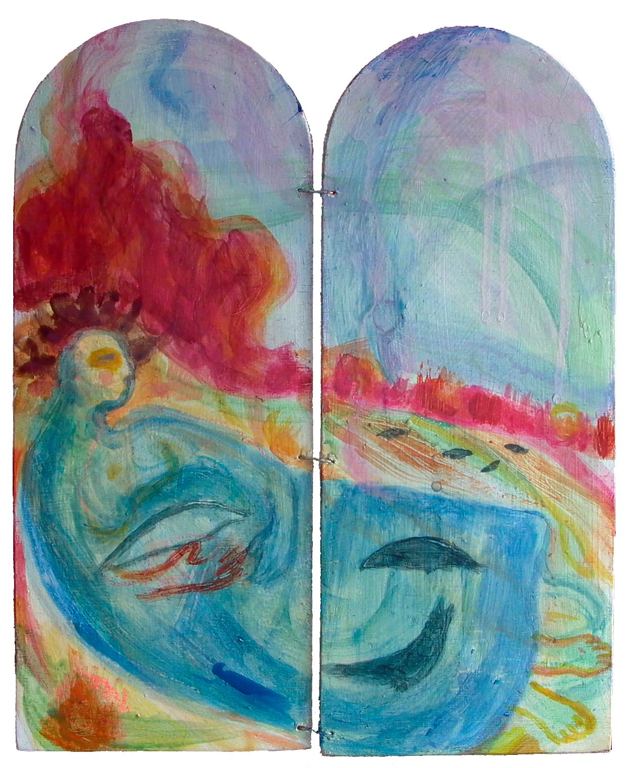Diptych - Rook Robe - 2014 - Acrylic, Mixed Media on Board - 25 X 30 cm