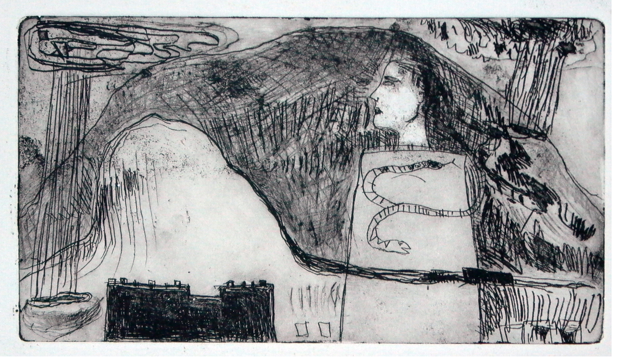Snaky Tower - 1989 - Etching - 20 X 11 cm