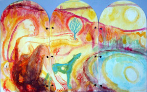 Triptych - East Shield - 2002 - Acrylic, Mixed Media on Plywood - 60 X 37 cm