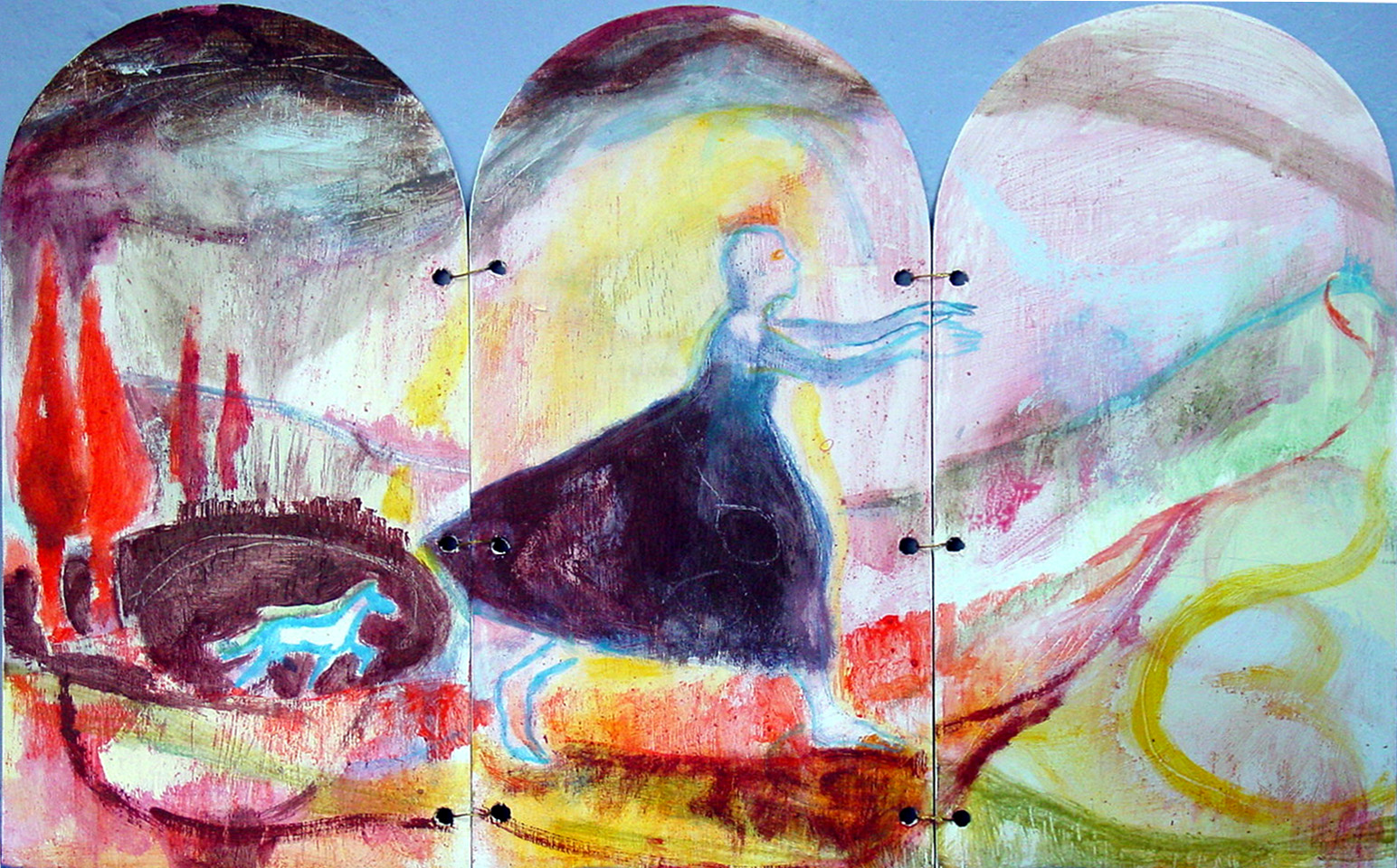 Triptych - North Shield - 2002 - Acrylic, Mixed Media on Plywood - 60 X 37 cm