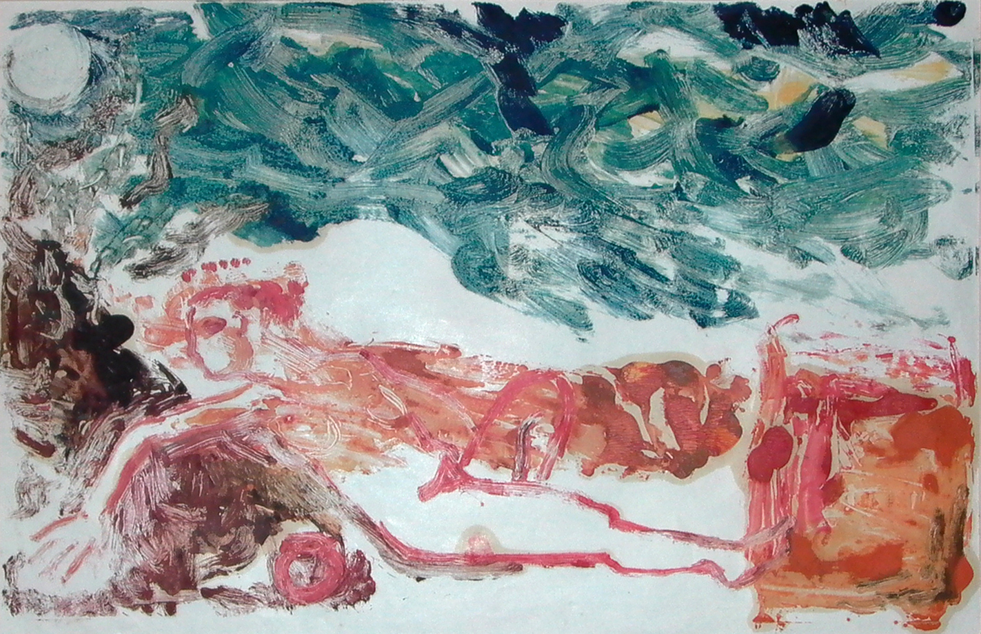 Woman in a landscape - 1988 - Monoprints - 47 X 30cm